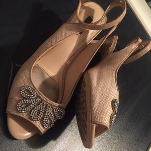 Alex Marie sling strap peep toe heels